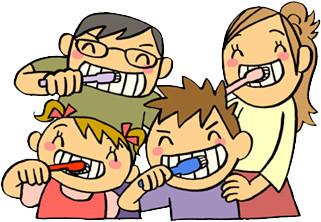 歯を磨く家族のイラスト